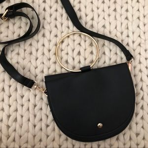 Metal Ring Crossbody Bag in Black